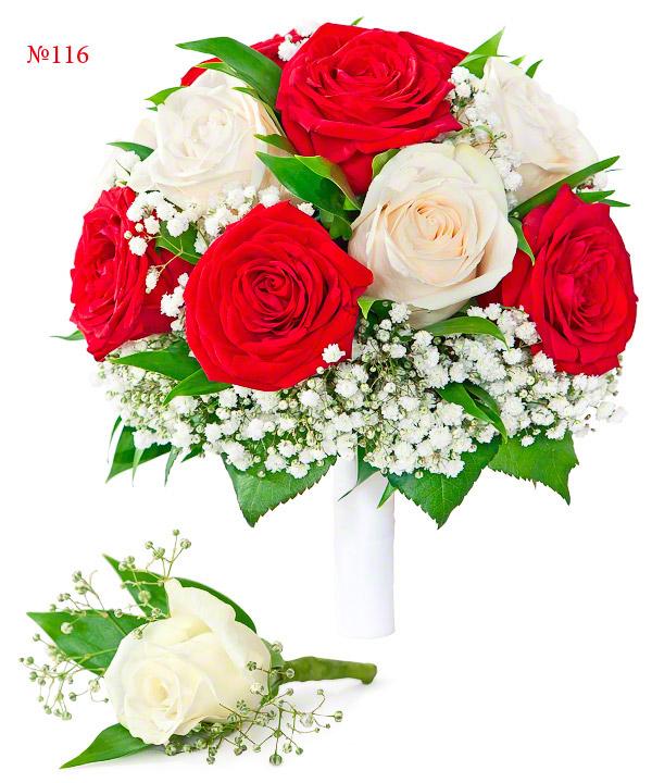 """Букет невесты """"Союз алой и белой розы"""" от MEGAFLOWERS"""
