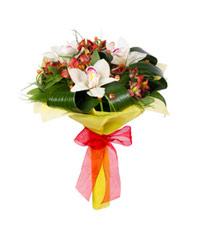 """Букет из цветов """"Орхидеи в красном"""" с доставкой по Новосибирску"""