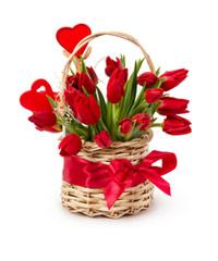"""Букет из цветов в корзине """"Красный мускат"""" с доставкой по Белгороду"""