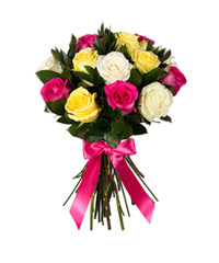 "Bouquet from цветов ""Enchanting Mix of Roses"" with delivery in Novosibirsk 20 - 40 см."
