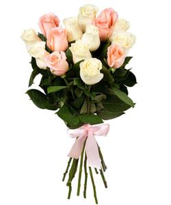 """Букет из цветов """"Букет из розовых и белых роз 60см"""" 25 - 60 см."""